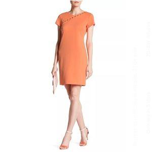 Ellen Tracy Ponte Grommet Dress Sz 12 Color Mango